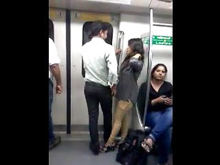 Desi Delhi Metro Boobs Grope Kiss Public Metro Train Caught